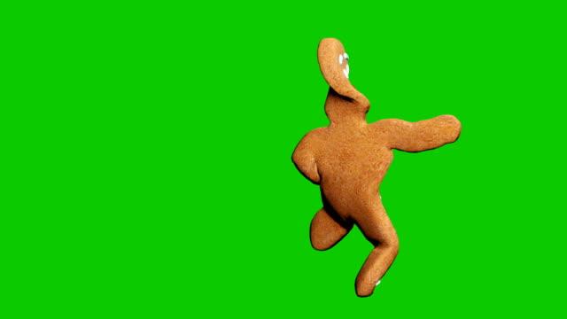 pepparkaks mannen dansar en juldans. begreppet av berömmen. loopas animering framför grön skärm. - pepparkaka bildbanksvideor och videomaterial från bakom kulisserna