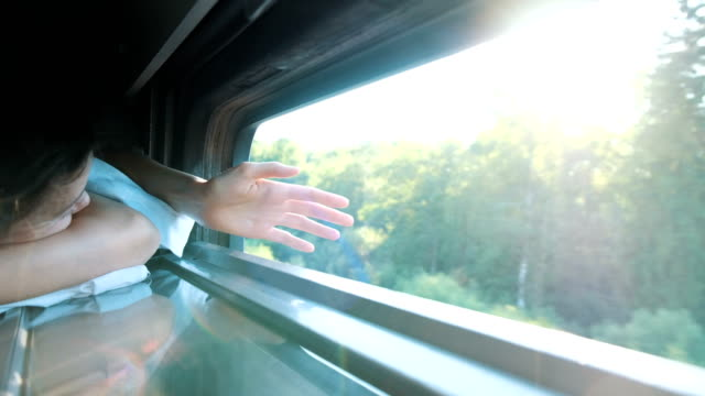 the girl catches the rays of the sunset in the train - wagon kolejowy filmów i materiałów b-roll