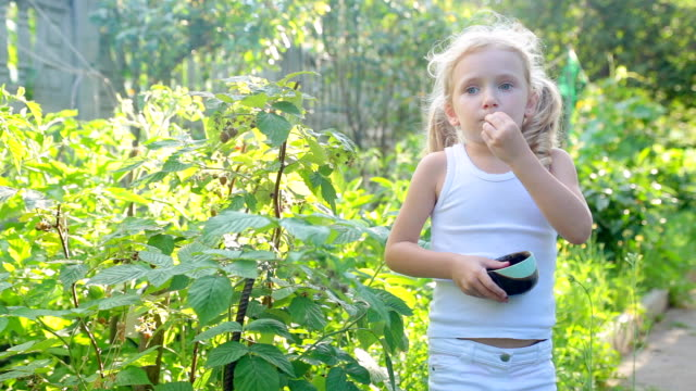 The girl eats raspberries in her grandmother's garden.