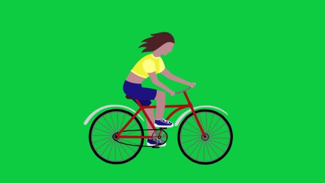 The girl goes on a bicycle