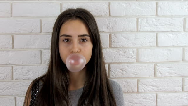 The girl is chewing gum video