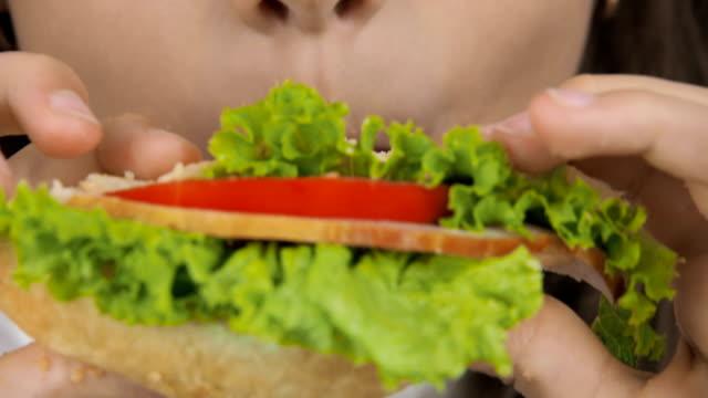 vídeos de stock e filmes b-roll de the girl is eating a close-up sandwich. - sanduíche