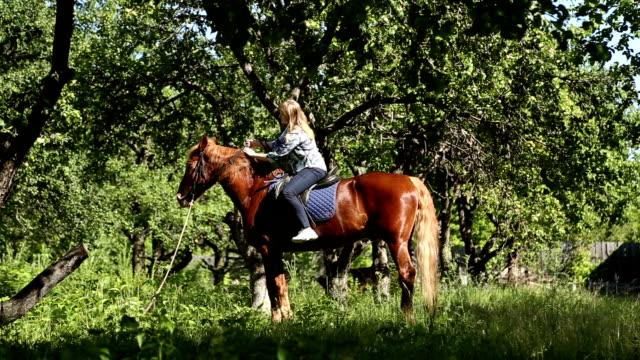 the girl riding a horse - sella video stock e b–roll