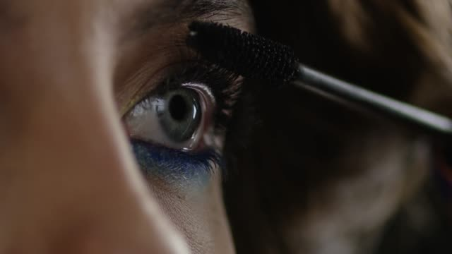 The Girl Uses Mascara Fashion Video Slow Motion 4k 30fps