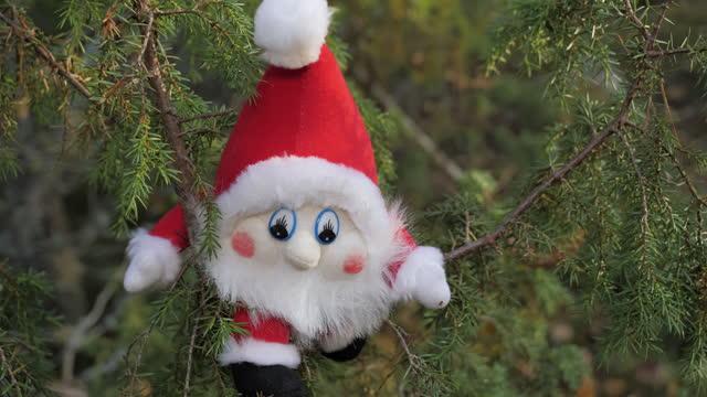 vídeos de stock e filmes b-roll de the gnome with the white beard on the tree top in rovaniemi finland.4k - países nórdicos