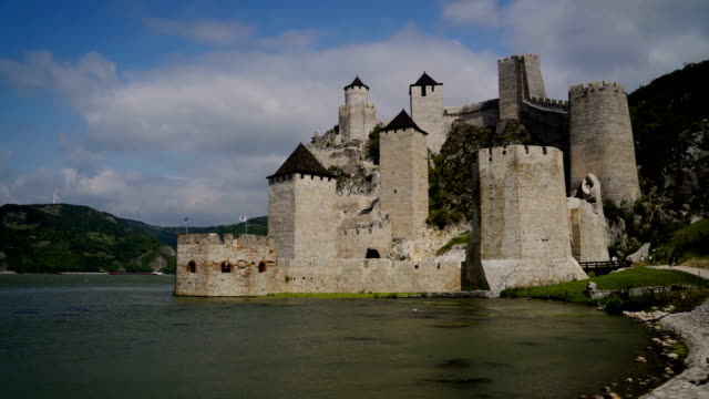 The Golubac Fortress is a medieval fortified town, 14th century, on the right bank of the Danube River