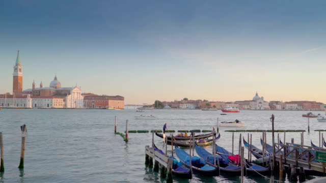 The gondolas on the docking area in Venice Italy video