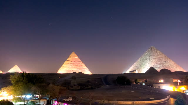 The Great pyramid at night in Giza, Egypt video