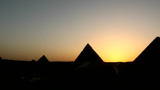 The Great pyramid time lapse on sunset in Giza, Egypt video
