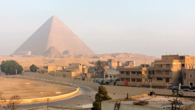 The Great pyramid with blue sky in Giza, Egypt video
