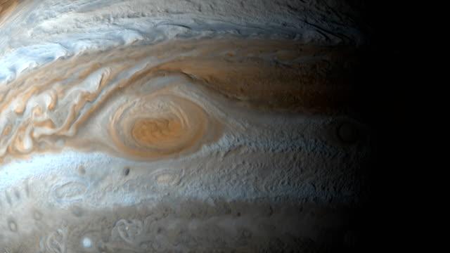 gezegen jüpiter dönen içinde büyük kırmızı lekesi - müşteri stok videoları ve detay görüntü çekimi