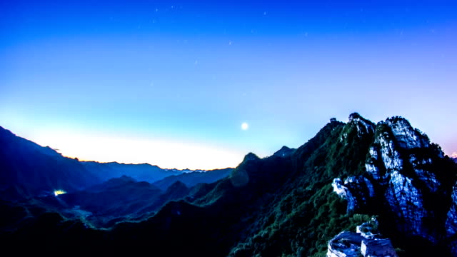 The Great Wall of China stars to day timelapse video