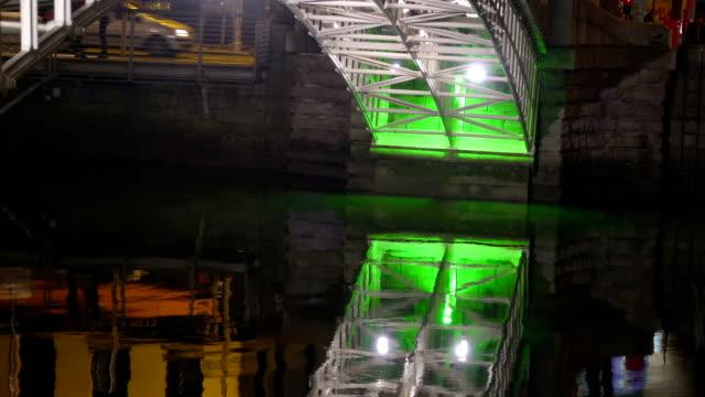 The green light on the bottom of the Ha penny bridge video