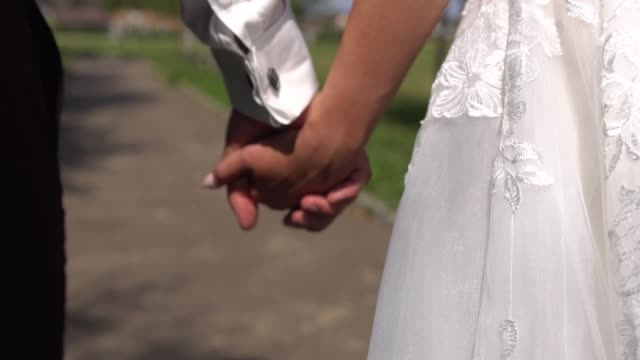 the groom takes the bride's hand against the backdrop of the landscape of nature. slow motion - young couple wedding friends video stock e b–roll