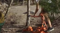 istock the guy ties the rope to the tree, close-up 1145820116