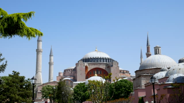 the hagia sophia mosque in old town square istanbul turkey, 4k resolution. - grand bazaar video stock e b–roll