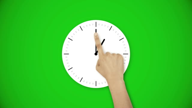 The hand moves the minute hand - Hour hand from 1 to 2 Time and clock concept green screen animation instrument of time stock videos & royalty-free footage