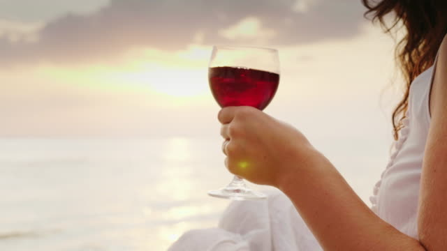 The hands of men and women hold glasses with wine. They cling to them against the background of the sea and the sunset video