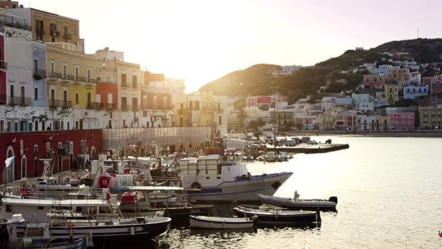 The harbor of Ponza, in the Tyrrhenian Sea video