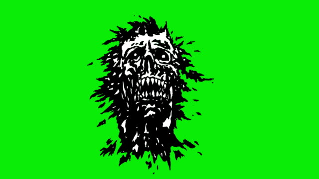 The head of the monster with a torn face. Looped video in genre of horror. video