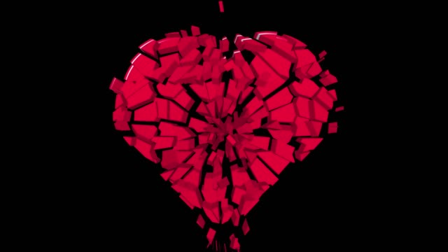 The heart symbol cracks and collapses down.