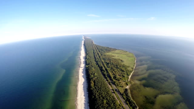 the hel peninsula, aerial view, poland - penisola video stock e b–roll