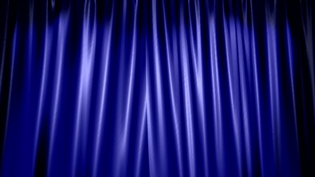 The high-quality blue curtain opens (+ alpha channel)