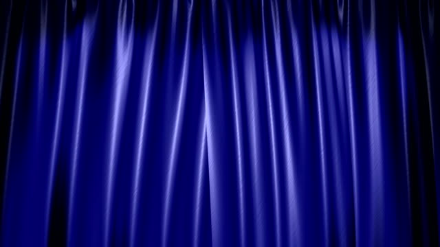 The high-quality blue curtain opens