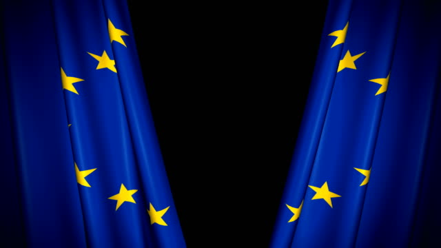 The high-quality blue curtain with EU flag opens and closes (+ alpha channel)