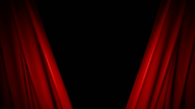 The high-quality red curtain opens and closes (+ alpha channel) video