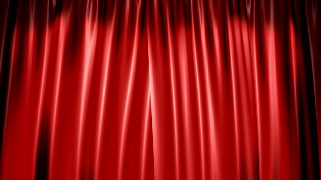 The high-quality red curtain opens