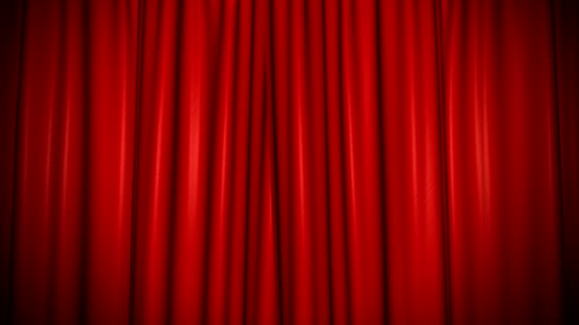 The high-quality red curtain opens (+ alpha channel)