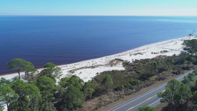The highway along white sand dunes and pine forest on the Atlantic coast at Alligator Point, Panacea, North Florida. Aerial drone video with the cinematic accelerated wide-orbit, panoramic camera motion, flying over the ocean.