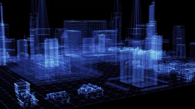 The hologram of a fly over modern city The hologram of a fly over modern city. 3D animation of aerial view downtown area on a black background with a seamless loop hologram stock videos & royalty-free footage
