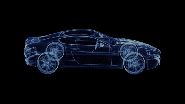 The hologram of a modern Racing Car