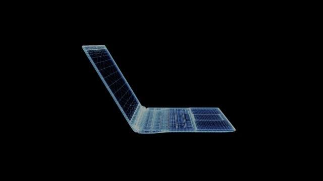 the hologram of a modern ultra laptop - chudy filmów i materiałów b-roll