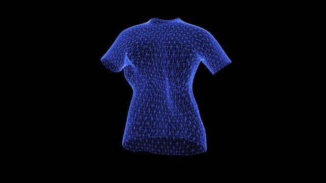 vídeos de stock, filmes e b-roll de o holograma de uma camiseta feminina giratória - camiseta preta
