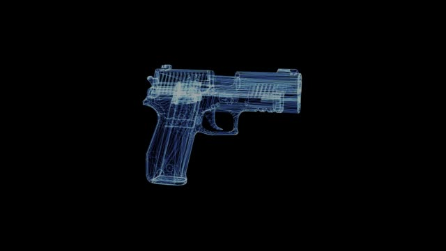 The hologram of a rotating gun The hologram of a rotating gun. 3d animation of pocket weapons on black background with seamless loop gun stock videos & royalty-free footage