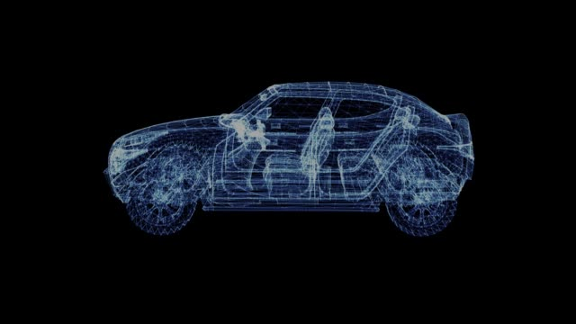 The hologram of a rotating modern Suv The hologram of a rotating modern Suv. 3D animation of family car on a black background with a seamless loop wire frame model stock videos & royalty-free footage
