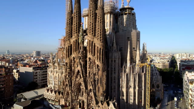 The Holy Family Aerial View Aerial view of Sagrada Familia, Barcelona, Spain church architecture stock videos & royalty-free footage