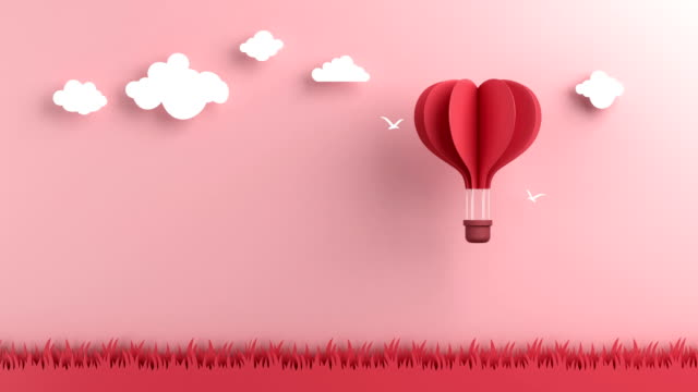 the hot air balloon was floating in the sky - valentines day stock videos and b-roll footage