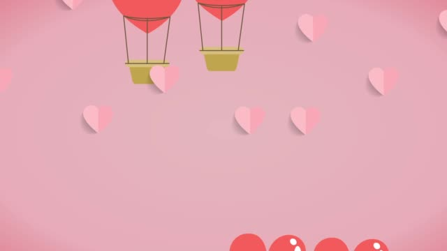 The hot air balloon was  shape heart floating in the sky for valentines day video