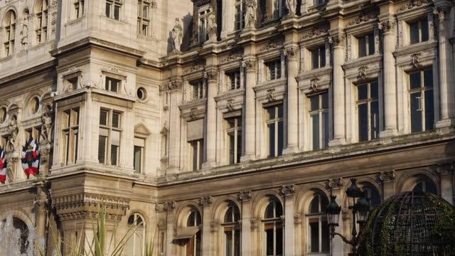The Hotel de Ville, Place de l Hotel de Ville, 4th arrondissement, Paris France The Hotel de Ville, Place de l Hotel de Ville, 4th arrondissement, Paris France french architecture stock videos & royalty-free footage