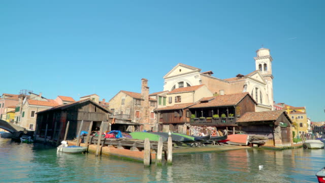 The house on the side of the canal in Venice Italy video