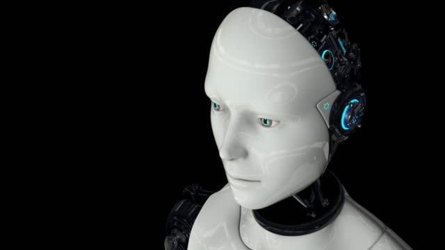 The humanoid robot is active. Artificial intelligence. The camera moves away. 4K. 3D animation. On a black background.