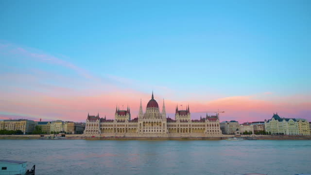 The Hungarian Parliament Building in Budapest, Hungary The Hungarian Parliament Building across the Danube River in Budapest, Hungary. hungary stock videos & royalty-free footage