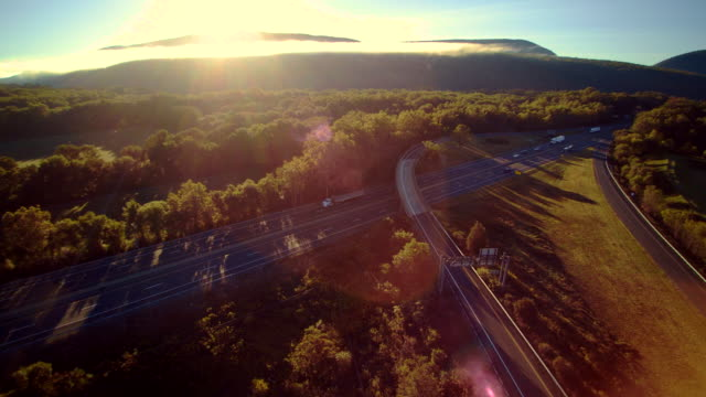 The I-80 Columbus highway near by Delaware Water Gap, at the border between New Jersey and Pennsylvania. Aerial drone video footage. video