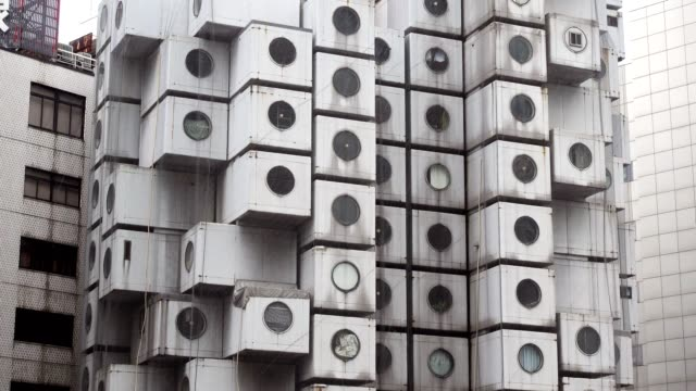The iconic Nakagin Capsule Tower in Shimbashi, Tokyo. video