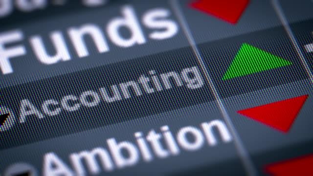 vídeos de stock, filmes e b-roll de o índice de contabilidade na tela. - validação