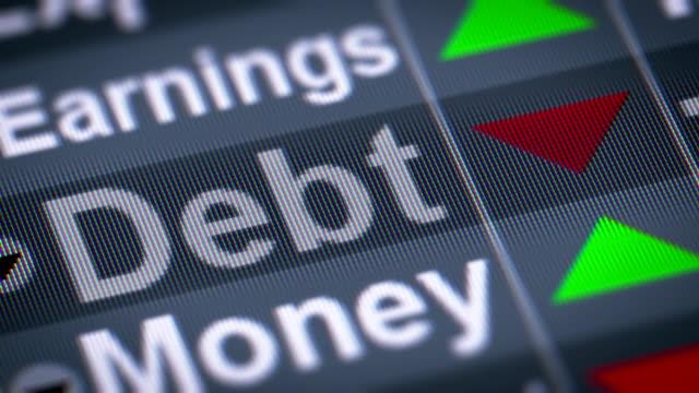 L'indice de la dette sur l'écran. - Vidéo